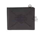 Harley-Davidson® Mens Danger Zone B&S Logo with Barbed Wire Black Leather Bifold Wallet by LODIS