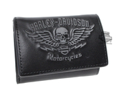 Harley-Davidson® Mens Guardian Winged Skull Black Leather Trifold Wallet by LODIS