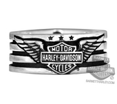 ** SIZE 12 ONLY ** Harley-Davidson® Mens .925 Silver American Heritage Band Ring by Mod Jewelry *30HR*