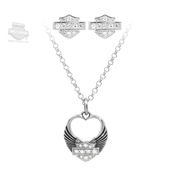 Harley-Davidson® .925 Silver Necklace and Earring Gift Set White Heart Womens