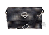 Harley-Davidson® Womens Nailed Studs with Rhinestone B&S Crossbody Black Leather Purse by LODIS HDWBA11081-BLK