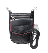 Harley-Davidson® Womens Show Class Winged B&S Quilted Detail Black Leather Hip Bag by LODIS