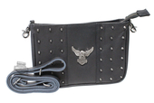 Harley-Davidson® Womens Nothing But Trouble Upwing Eagle with B&S Black Leather Hip Bag by LODIS
