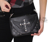 Harley-Davidson® Womens Metal Mama Winged Cross with Willie G Skulls Black Leather Hip Bag by LODIS
