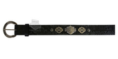 ** SIZE SMALL (4-6) ONLY ** Harley-Davidson® Womens Revved Up B&S Logo Medallions Black Leather Belt by LODIS
