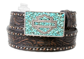 ** SMALL SIZES ONLY ** Harley-Davidson® Womens Sweet Zone Vintage Embossed Design with Turquoise Stones in Buckle Brown Leather