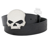 ** SIZE SMALL (4-6) ONLY ** Harley-Davidson® Womens Willie G Classic Skull Black Leather Belt by LODIS