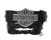 Harley-Davidson® Womens Hairpin Twisted Leather Strap with B&S Buckle Black Leather Belt by LODIS
