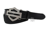 ** SIZE MEDIUM ONLY ** Harley-Davidson® Womens Suspension Rhinestone B&S with Stretch Panel Black Leather Belt by LODIS
