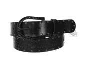 Harley-Davidson® Womens Darkside Black Rhinestone Studs with Lacing Black Leather Belt by LODIS *48HR*