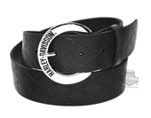 Harley-Davidson® Womens Down Home Embossed B&S Repeat Black Leather Belt by LODIS *CIJ*