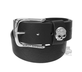 Harley-Davidson® Womens Rock Candy Rhinestone Willie G Skull Black Leather Belt by LODIS