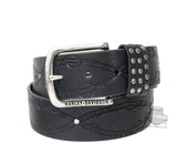 Harley-Davidson® Womens Linked Embossed Chain with B&S Studded Black Leather Belt by LODIS