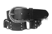Harley-Davidson® Womens Black Angel Interwoven Chain Detail Black Leather Belt by LODIS