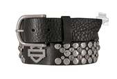 Harley-Davidson® Womens Motor Sister Studded with Rhinestone B&S Black Leather Belt by LODIS