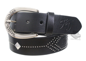 Harley-Davidson® Womens Native Star Bling B&S with Stud Detail Black Leather Belt by LODIS