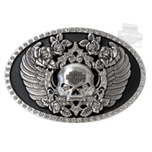 Harley-Davidson® Womens Untamed Willie G Skull Wings with Rhinestones Buckle by LODIS *72H1*