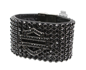 Harley-Davidson® Womens Sunday Morning B&S Black Crystal Embellished Black Leather Wrist Cuff by LODIS
