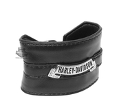 Harley-Davidson® Womens Sleek 'N Smooth Belt Design with Crystal Banner Medallion Black Leather Wrist Cuff by LODIS