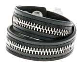 Harley-Davidson® Womens Double Wrap Zipper Black Leather Wrist Cuff by LODIS *2D2*