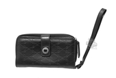 Harley-Davidson® Womens Down Home Embossed B&S Repeat Black Leather Phone Wristlet by LODIS *40th*