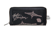 Harley-Davidson® Womens Silver Flash Pinstriping with B&S Black Leather Wallet by LODIS *18HR*