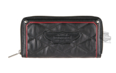 Harley-Davidson® Womens Show Class Winged B&S Quilted Zip Around Black Leather Wallet by LODIS