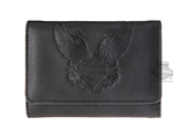 Harley-Davidson® Womens Rose Tattoo Winged B&S Black Leather Wallet by LODIS