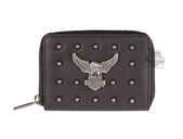Harley-Davidson® Womens Nothing But Trouble Upwing Eagle with B&S Black Leather Wallet by LODIS
