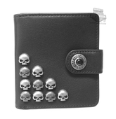 Harley-Davidson® Womens Willie Stacker Skulls Black Leather Wallet by LODIS