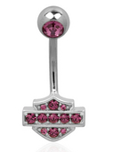 Harley-Davidson® .925 Silver B&S Pink Cubic Zirconia Belly Jewel