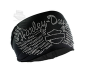 Harley-Davidson® Womens Studded Harley Wings with B&S Black Polyester Headband Scrunchie