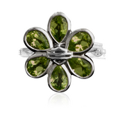 Harley-Davidson® Womens .925 Silver Peridot B&S Flower Ring by Mod Jewelry *36H2*