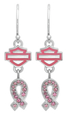 Harley-Davidson® .925 Silver H-D Pink Label With Pink Enamel Dangle Earrings