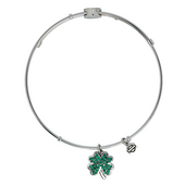 Harley-Davidson® Womens Stainless Steel Bling Four Leaf Clover Charm Bangle Bracelet by Mod Jewelry®