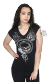 Harley-Davidson® Womens Gear Willie G Skull Lace Back V-Neck Black Short Sleeve T-Shirt by FCP Brands, Inc.