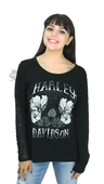Harley-Davidson® Womens Illusion Lace Trim Black Long Sleeve T-Shirt by FCP Brands, Inc.