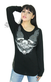 Harley-Davidson® Womens V2 Angel Winged B&S with Contrast Back Black Long Sleeve T-Shirt by FCP Brands, Inc.