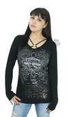 Harley-Davidson® Womens Stone Serpent B&S O-Ring Black Long Sleeve T-Shirt by FCP Brands, Inc.