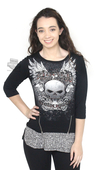 Harley-Davidson® Womens Fire It Up Winged Willie G Skull Black 3/4 Sleeve T-Shirt by FCP Brands, Inc.