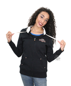 ** SMALL SIZES ONLY ** Harley-Davidson® Womens Gothic Beauty Winged Trademark B&S Full Zip Black Long Sleeve Hoodie