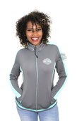 ** SIZE SMALL ONLY ** Harley-Davidson® Womens Tradition of Breeze B&S Mock Neck Full Zip Grey Long Sleeve Sweatshirt