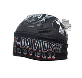 Harley-Davidson® Mens Engulfed Flaming B&S with Skull Sublimated Black Polyester Headwrap