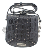 Harley-Davidson® Womens Croco Dual Dyed Saddlebag Black Leather Purse