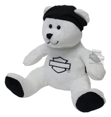 Harley-Davidson® Classic B&S Bears with Phrases White Bean Bag *CYB*