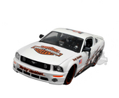 Harley-Davidson® 2006 Ford Mustang GT White with Flames and Big B&S on Hood White Model Car 1:24 Scale