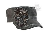 Harley-Davidson® Womens Studded Star Skull Enzyme Washed Charcoal Cotton Painters Cap