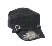 Harley-Davidson® Womens Studded Wild & Free B&S with Buckle Black Cotton Painters Cap