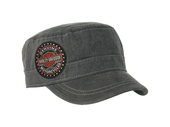 Harley-Davidson® Womens Long B&S with Rhinestones Enzyme Washed Grey Cotton Painters Cap