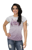 ** SMALL SIZES ONLY ** Harley-Davidson® Womens Faded Badge Studded Wings Spray Dye Purple Short Sleeve T-Shirt